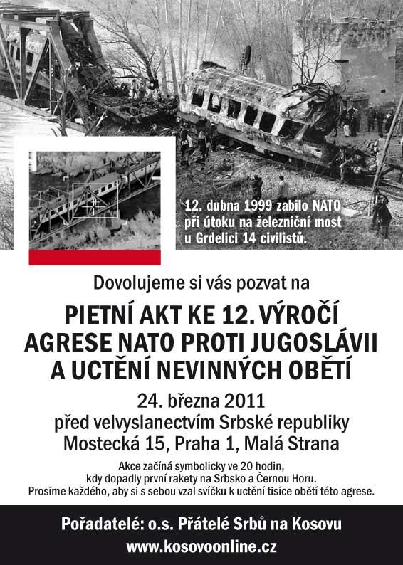 Pozvánka na pietní akt k výročí agrese NATO proti Jugoslávii